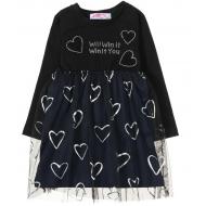 12-26901 Платье для девочки, 2-6 лет, черный