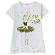 """12-580204-2 """"Ballet"""" Футболка для девочки, 5-8 лет, серый"""