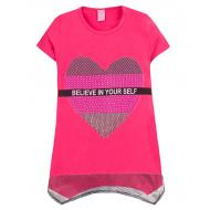 """12-8110804-1 """"Heart"""" Туника для девочки, 8-11 лет, малиновый"""