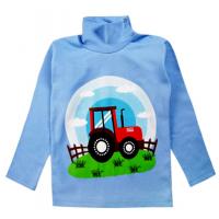 """20-007108 """"Трактор"""" Водолазка для мальчика, 1-4 года, синий"""