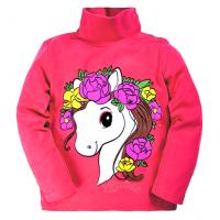 """20-007208 """"Лошадка"""" Водолазка для девочки, 1-4 года, т-розовый"""