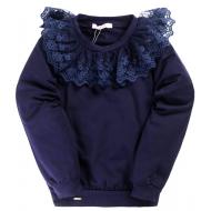 20-111301 Блузка школьная с кружевом, 6-10 лет, синяя ночь