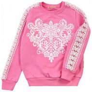 20-114403 Джемпер для девочки с кружевными вставками, 5-8 лет, розовый