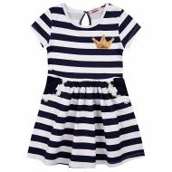 """020-117304 """"Полоска"""" Платье для девочки, 2-5 лет, т-синий"""