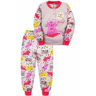 "20-125124 ""Мяу"" Пижама утепленная для девочки, 2-6 лет, серый"
