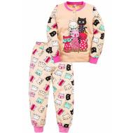 """20-125123 """"5 Cats"""" Пижама утепленная для девочки, 2-6 лет, бежевый"""