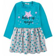 20-12684 Платье для девочки из фуллайкры, 3-7 лет, бирюзовый
