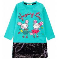 20-12691 Нарядное платье для девочки, 5-8 лет, изумрудный