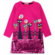 20-12695 Нарядное платье для девочки, 5-8 лет, малиновый
