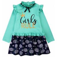 20-12723 Платье для девочки из фуллайкры, 3-7 лет, аквамарин
