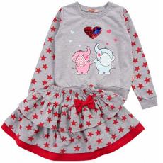 20-12735  Костюм с юбкой для девочки, 2-6 лет, меланж\красный