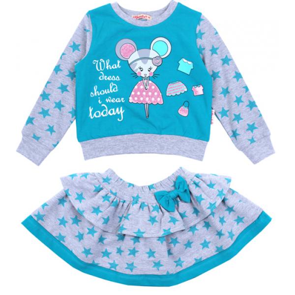 Костюм с юбкой для девочки, 2-6 лет, бирюзовый