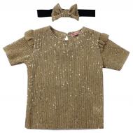 20-1329K Нарядная блузка с повязкой, 3-7 лет