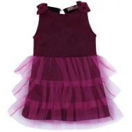 020-13422 Нарядное платье для девочек с люриксом, 2-6 лет, бордовый