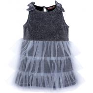 020-13425 Нарядное платье для девочек с люриксом, 2-6 лет, серый