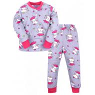 20-300105  Пижама для девочки, 2-6 лет, серый
