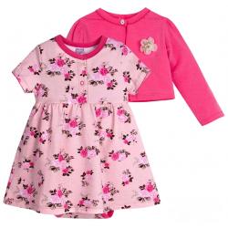 20-33601К Комплект: боди-платье, кофточка для девочки, 68-86