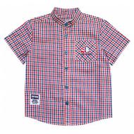 20-5611R Рубашка в клетку для мальчика, поплин, 2-6 лет, красный