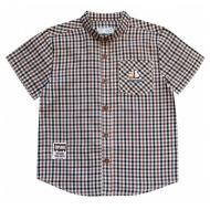 20-5612R Рубашка в клетку для мальчика, поплин, 2-6 лет, бежевый