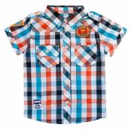 20-5691R Рубашка в клетку для мальчика, поплин, 2-6 лет, оранжевый