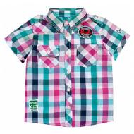20-5694R Рубашка в клетку для мальчика, поплин, 2-6 лет, бирюзовый