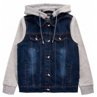 20-739 Джинсовая куртка с капюшоном для мальчика, 7-11 лет