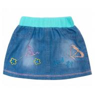 20-7691 Юбка джинсовая для девочки, 2-5 лет, бирюзовый