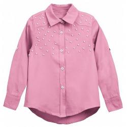 20-8321 Блузка с жемчужными бусинками, 7-10 лет, розовый
