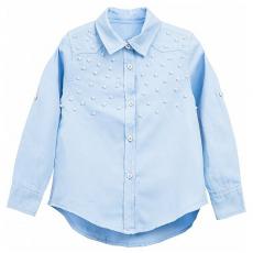 20-8323 Блузка с жемчужными бусинками, 7-10 лет, голубой