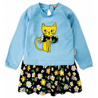 """20-8351 """"Кошка"""" Платье для девочки, фуллайкра, 2-6 лет, голубой"""