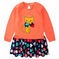 """20-8352 """"Кошка"""" Платье для девочки, фуллайкра, 2-6 лет, коралловый"""
