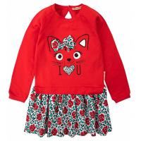 """20-8353 """"Кошка"""" Платье для девочки, фуллайкра, 2-6 лет, красный"""