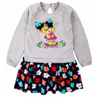 "20-8354 ""Мишка"" Платье для девочки, фуллайкра, 2-6 лет, меланж"