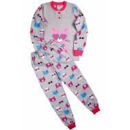 """20-95522 """"Кошка"""" Пижама утепленная для девочки, 7-10 лет, серый"""