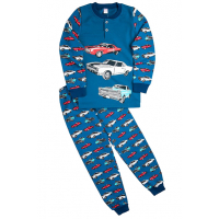 """20-95514 """"Cars"""" Пижама утепленная для мальчика, 7-10 лет, джинсовый"""
