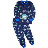 """20-95513 """"Space"""" Пижама утепленная для мальчика, 7-10 лет, индиго"""