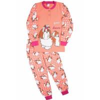 """20-95524 """"Dog"""" Пижама утепленная для девочки, 7-10 лет, персик"""