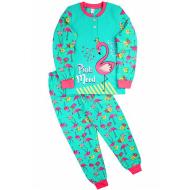 """20-95521 """"Фламинго"""" Пижама утепленная для девочки, 7-10 лет, аквамарин"""