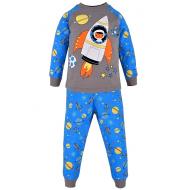 17-2513223 Пижама для мальчика, интерлок, 2-5 лет, серый\голубой
