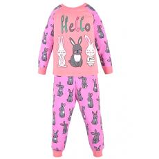 17-2513228 Пижама для девочки, 2-5 лет, интерлок, персиковый
