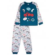 17-2513235 Пижама для мальчика, интерлок, 2-5, бирюза\серый
