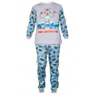 17-6913212 Пижама для мальчика, интерлок, 6-9 лет, серый