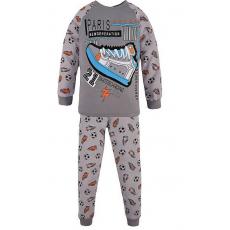 17-6913226 Пижама для мальчика, рибана, 6-9 лет, серый