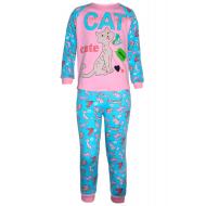 17-6913230 Пижама для девочки, рибана, 6-9 лет, розовый