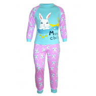 17-6913231 Пижама для девочки, рибана, 6-9 лет, св-бирюзовый