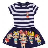 45-110011 Платье для девочки, 3-7 лет, синяя ночь
