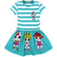 45-110013 Платье для девочки, 3-7 лет, бирюзовый