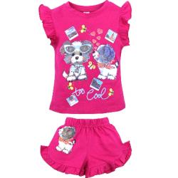 """20-00108 """"Flowers"""", костюм для девочки, 1-4 года, малиновый"""