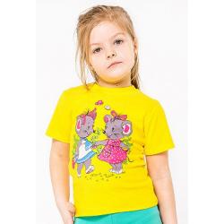"""20-101203 """"МЫШАТА"""" Футболка для девочки, 1-4 года, желтый"""