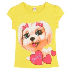 "20-102203 ""Lovely"" Футболка для девочки, 4-8 лет, желтый"